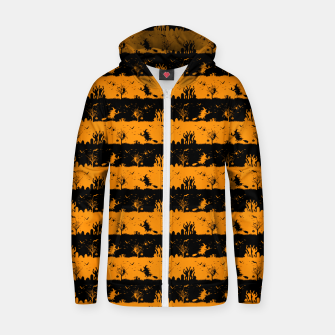 Pumpkin Orange and Black Halloween Nightmare Stripes  Cotton zip up hoodie thumbnail image