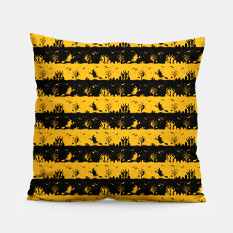 Pale Pumpkin Orange and Black Halloween Nightmare Stripes  Pillow thumbnail image