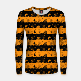 Pumpkin Orange and Black Halloween Nightmare Stripes  Woman cotton sweater thumbnail image