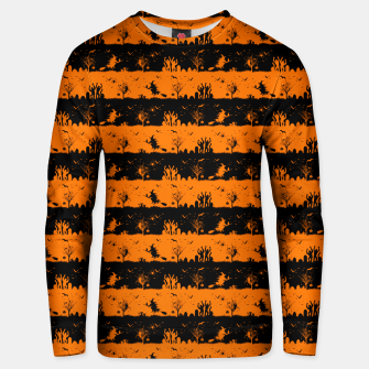 Dark Pumpkin Orange and Black Halloween Nightmare Stripes Cotton sweater thumbnail image