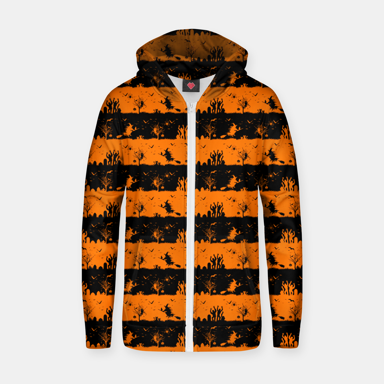 Image of Dark Pumpkin Orange and Black Halloween Nightmare Stripes Cotton zip up hoodie - Live Heroes