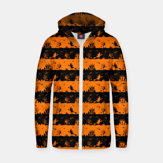 Dark Pumpkin Orange and Black Halloween Nightmare Stripes Cotton zip up hoodie thumbnail image
