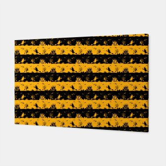 Pale Pumpkin Orange and Black Halloween Nightmare Stripes  Canvas thumbnail image
