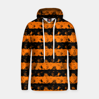Dark Pumpkin Orange and Black Halloween Nightmare Stripes Cotton hoodie thumbnail image