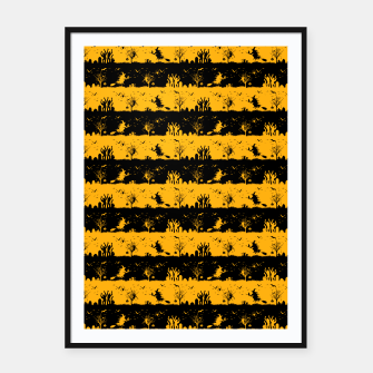 Pale Pumpkin Orange and Black Halloween Nightmare Stripes  Framed poster thumbnail image