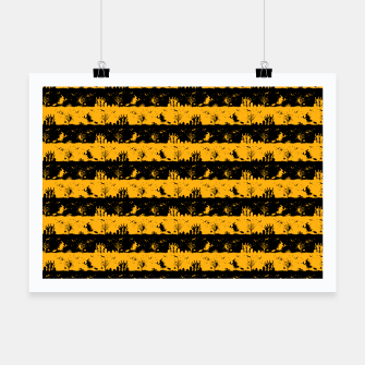 Pale Pumpkin Orange and Black Halloween Nightmare Stripes  Poster thumbnail image