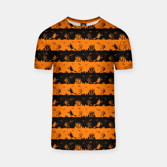 Dark Pumpkin Orange and Black Halloween Nightmare Stripes T-shirt thumbnail image