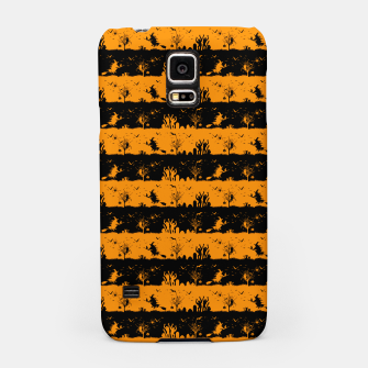 Pumpkin Orange and Black Halloween Nightmare Stripes  Samsung Case thumbnail image