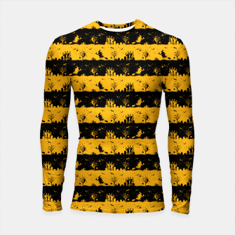Pale Pumpkin Orange and Black Halloween Nightmare Stripes  Longsleeve rashguard  thumbnail image