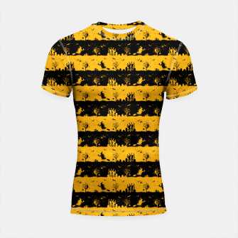Pale Pumpkin Orange and Black Halloween Nightmare Stripes  Shortsleeve rashguard thumbnail image