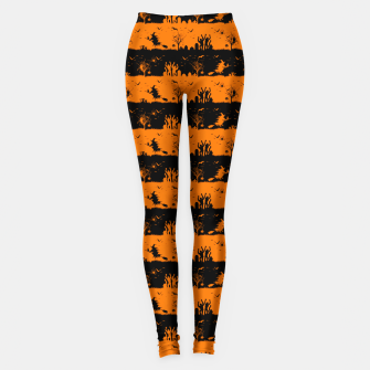 Dark Pumpkin Orange and Black Halloween Nightmare Stripes Leggings thumbnail image