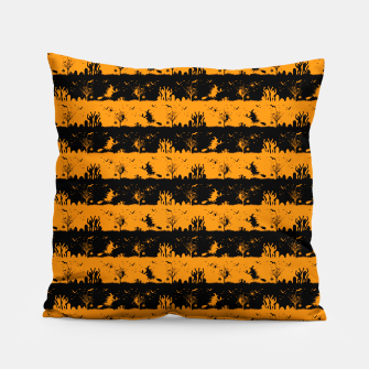 Pumpkin Orange and Black Halloween Nightmare Stripes  Pillow thumbnail image