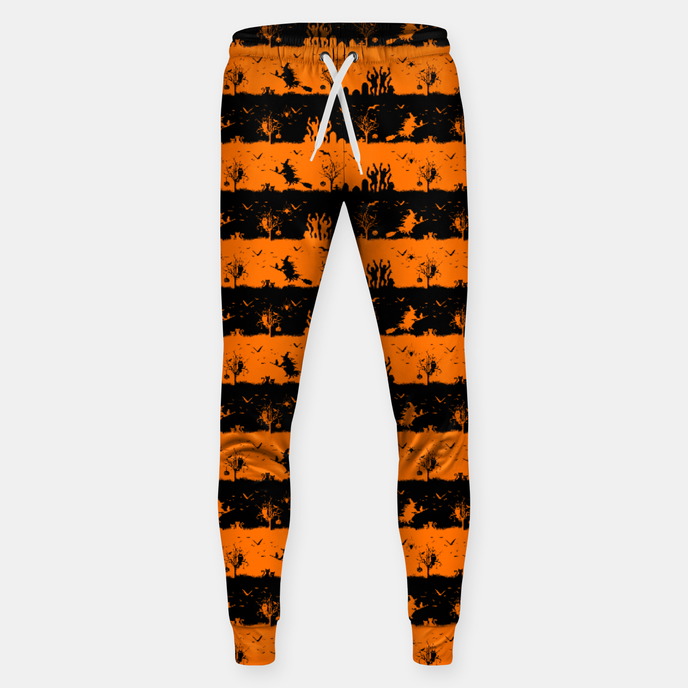 Image of Dark Pumpkin Orange and Black Halloween Nightmare Stripes Cotton sweatpants - Live Heroes