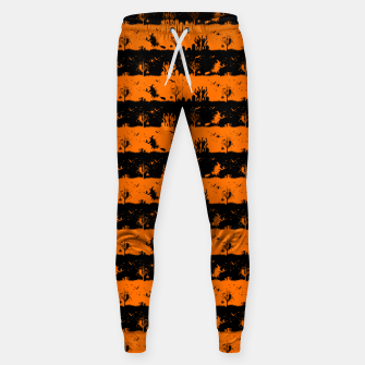 Dark Pumpkin Orange and Black Halloween Nightmare Stripes Cotton sweatpants thumbnail image