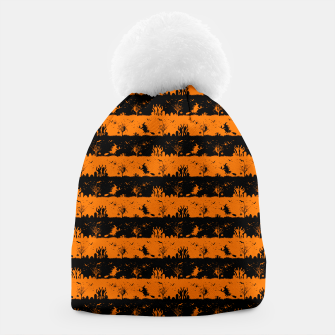 Dark Pumpkin Orange and Black Halloween Nightmare Stripes Beanie thumbnail image