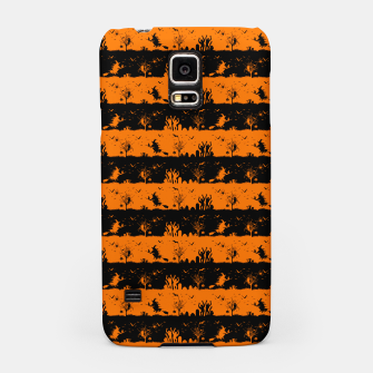 Dark Pumpkin Orange and Black Halloween Nightmare Stripes Samsung Case thumbnail image