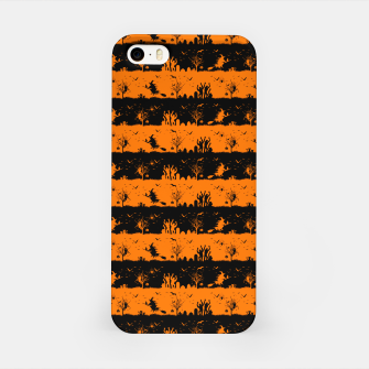Dark Pumpkin Orange and Black Halloween Nightmare Stripes iPhone Case thumbnail image