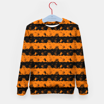 Dark Pumpkin Orange and Black Halloween Nightmare Stripes Kid's sweater thumbnail image