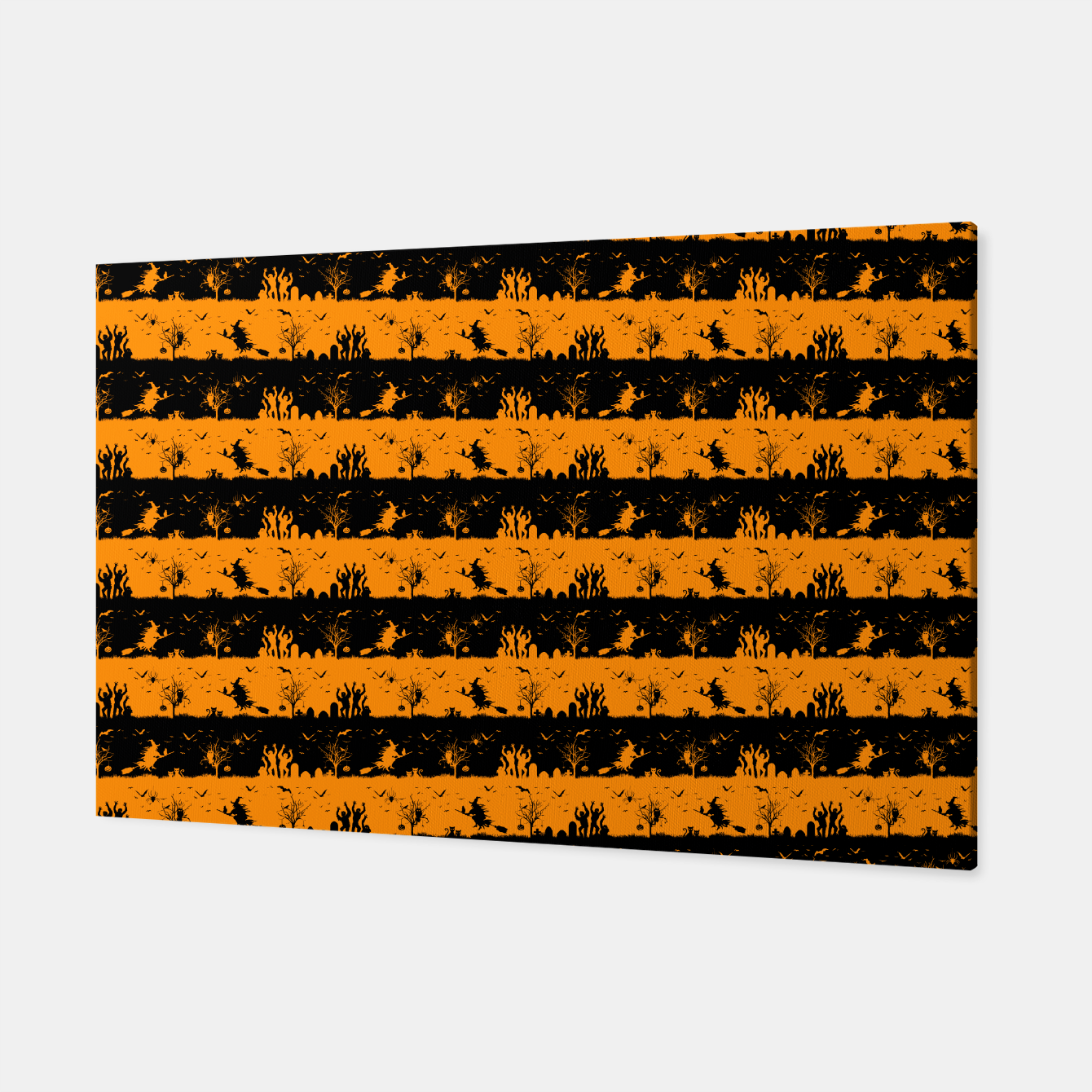 Image of Pumpkin Orange and Black Halloween Nightmare Stripes  Canvas - Live Heroes