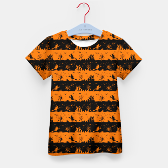 Dark Pumpkin Orange and Black Halloween Nightmare Stripes Kid's t-shirt thumbnail image