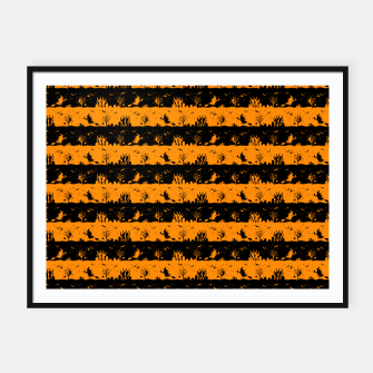 Pumpkin Orange and Black Halloween Nightmare Stripes  Framed poster thumbnail image