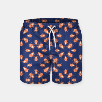 Thumbnail image of Copper Beetles on Navy Background Swim Shorts, Live Heroes