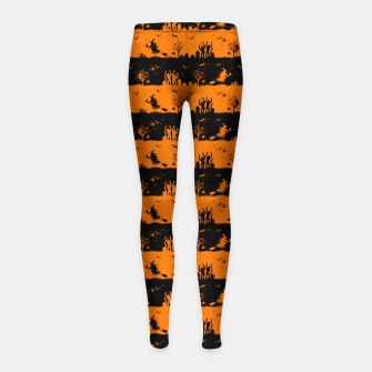 Dark Pumpkin Orange and Black Halloween Nightmare Stripes Girl's leggings thumbnail image