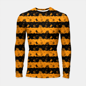 Pumpkin Orange and Black Halloween Nightmare Stripes  Longsleeve rashguard  thumbnail image