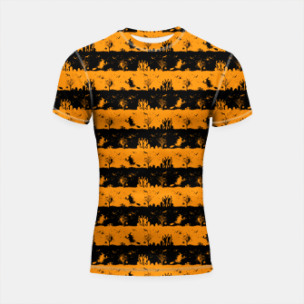 Pumpkin Orange and Black Halloween Nightmare Stripes  Shortsleeve rashguard thumbnail image