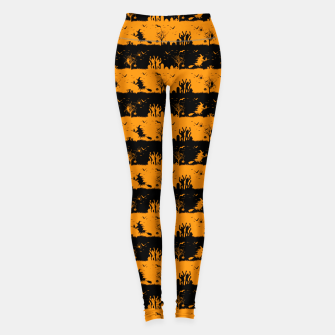 Pumpkin Orange and Black Halloween Nightmare Stripes  Leggings thumbnail image