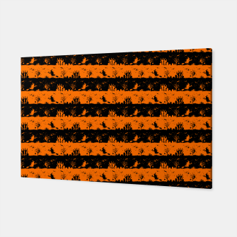 Dark Pumpkin Orange and Black Halloween Nightmare Stripes Canvas thumbnail image