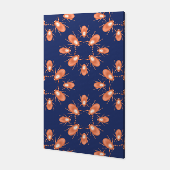 Thumbnail image of Copper Beetles on Navy Background Canvas, Live Heroes