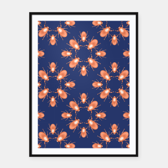 Thumbnail image of Copper Beetles on Navy Background Framed poster, Live Heroes