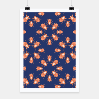 Thumbnail image of Copper Beetles on Navy Background Poster, Live Heroes