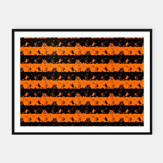 Dark Pumpkin Orange and Black Halloween Nightmare Stripes Framed poster thumbnail image