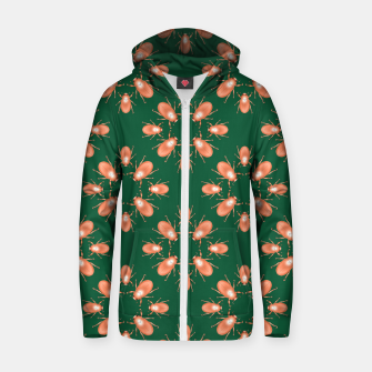 Thumbnail image of Copper Beetles on Green Background Cotton zip up hoodie, Live Heroes