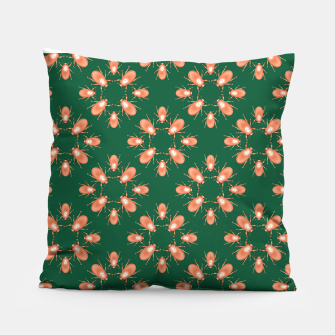 Thumbnail image of Copper Beetles on Green Background Pillow, Live Heroes