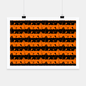 Dark Pumpkin Orange and Black Halloween Nightmare Stripes Poster thumbnail image