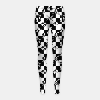 Miniatur Black and White Vintage Halloween Check  Girl's leggings, Live Heroes