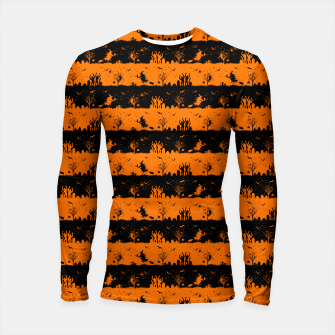 Dark Pumpkin Orange and Black Halloween Nightmare Stripes Longsleeve rashguard  thumbnail image