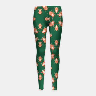 Thumbnail image of Copper Beetles on Green Background Girl's leggings, Live Heroes