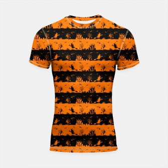 Dark Pumpkin Orange and Black Halloween Nightmare Stripes Shortsleeve rashguard thumbnail image
