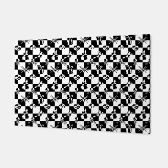 Miniatur Black and White Vintage Halloween Check  Canvas, Live Heroes