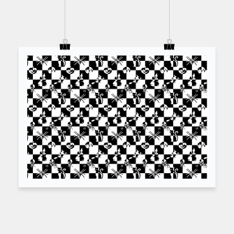 Miniatur Black and White Vintage Halloween Check  Poster, Live Heroes