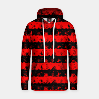 Red Devil and Black Halloween Nightmare Stripes  Cotton hoodie thumbnail image