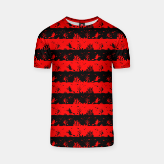 Red Devil and Black Halloween Nightmare Stripes  T-shirt thumbnail image