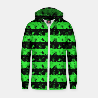 Monster Green and Black Halloween Nightmare Stripes  Cotton zip up hoodie thumbnail image