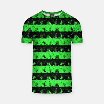 Monster Green and Black Halloween Nightmare Stripes  T-shirt thumbnail image