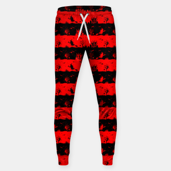 Red Devil and Black Halloween Nightmare Stripes  Cotton sweatpants thumbnail image