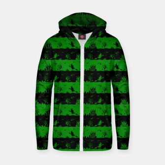 Alien Green and Black Halloween Nightmare Stripes  Cotton zip up hoodie thumbnail image